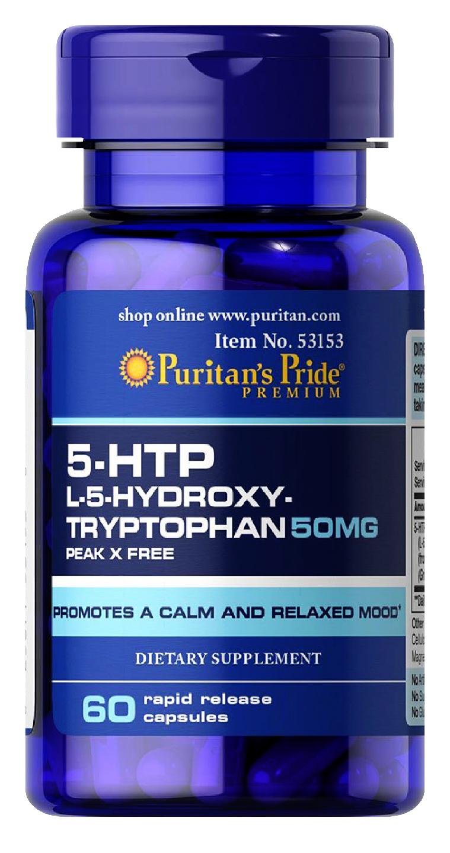 Giảm stress từ viên uống Puritan's Pride 5-HTP 100mg L-5-Hydroxy Tryptophan 60 viên