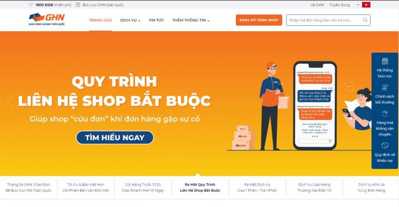 Website của Giao hàng nhanh