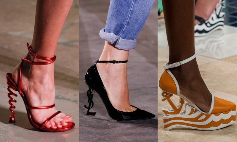 Xu hướng giày tiếp theo là hình ảnh những đôi giày có gót độc đáo