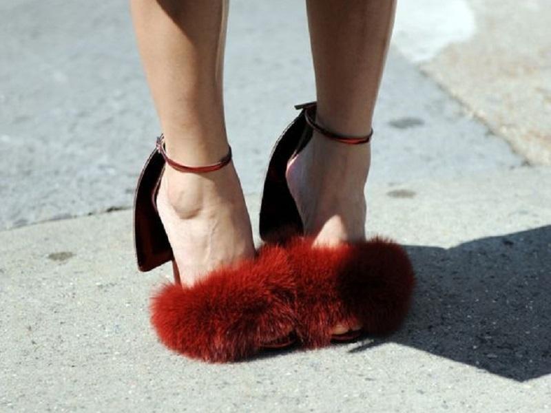Giày đính, phủ lông