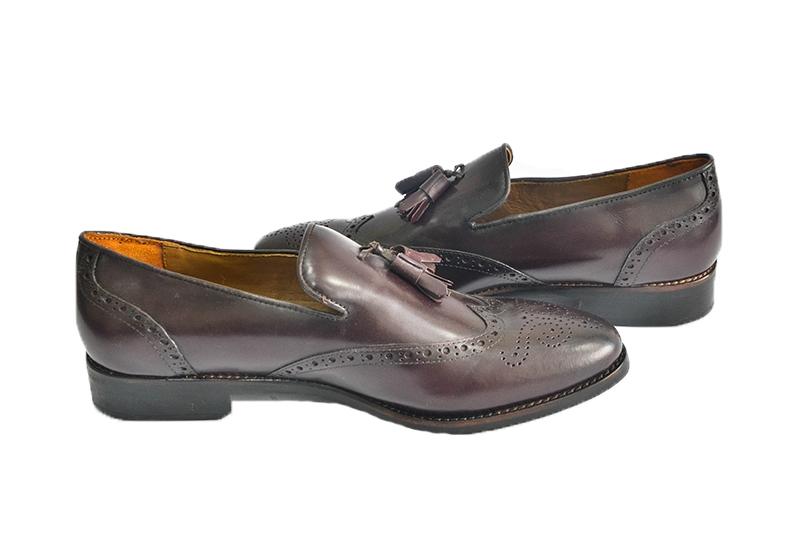 Giày lười nam James Blanc viền hoa da trơn có chuông màu nâu (JB-005