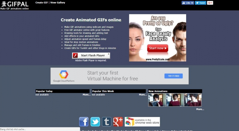 Giao diện trang web Gif Pal tạo ảnh động online