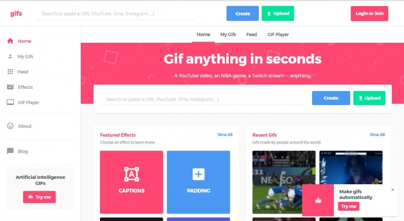 Giao diện trang web GIFS