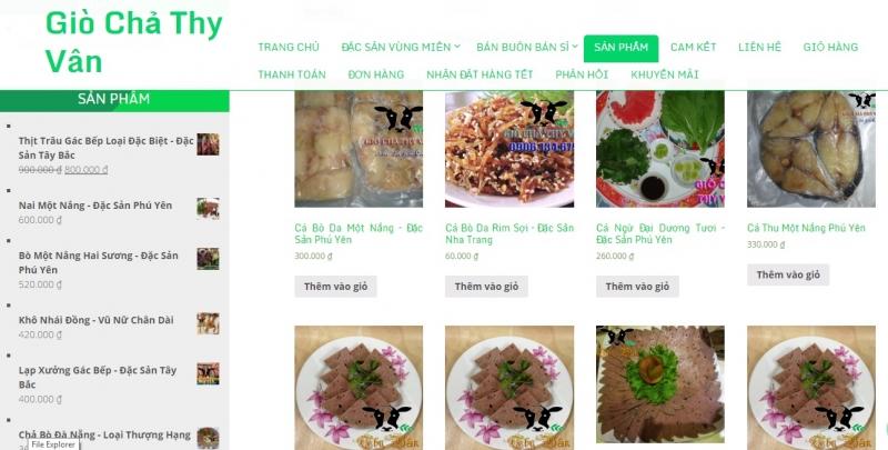 Website giò chả Thy Vân