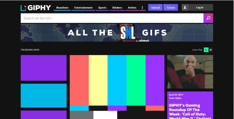 Giao diện trang web Giphy