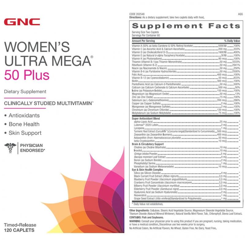 Thành phần của GNC Women's Ultra Mega 50 Plus