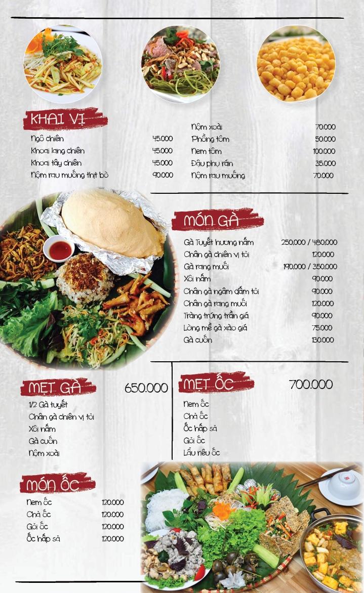 Một phần menu của nhà hàng.