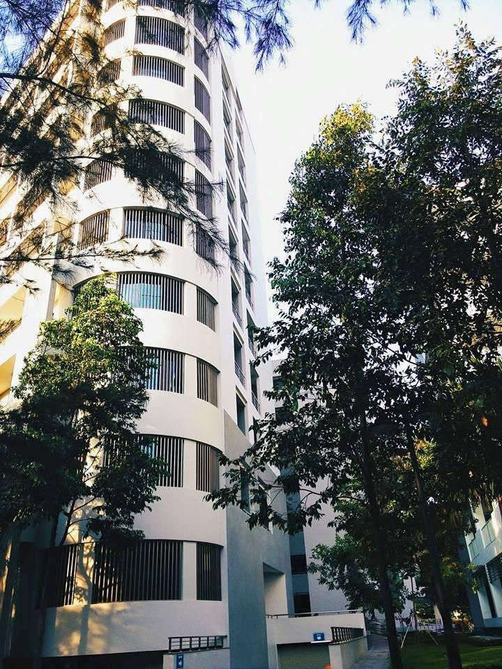 Góc ảnh tòa nhà D từ dưới lên