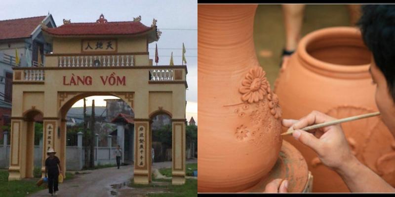 Cổng làng Vồm và một sản phẩm gốm vàng Vồm