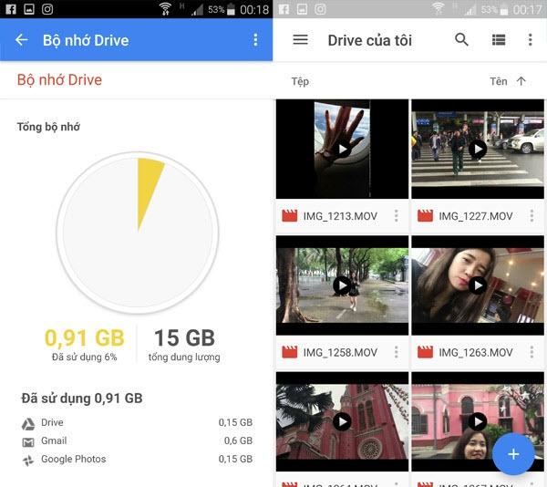 Drive cung cấp cho bạn 15GB để bạn có thể lưu ảnh của mình