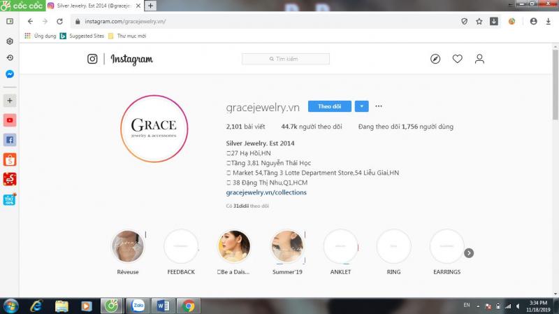 Kênh Instagram của Grace Jewelry