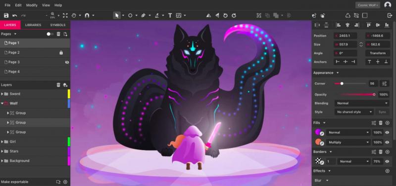 Một màn hình thiết kế của Gravit Designer