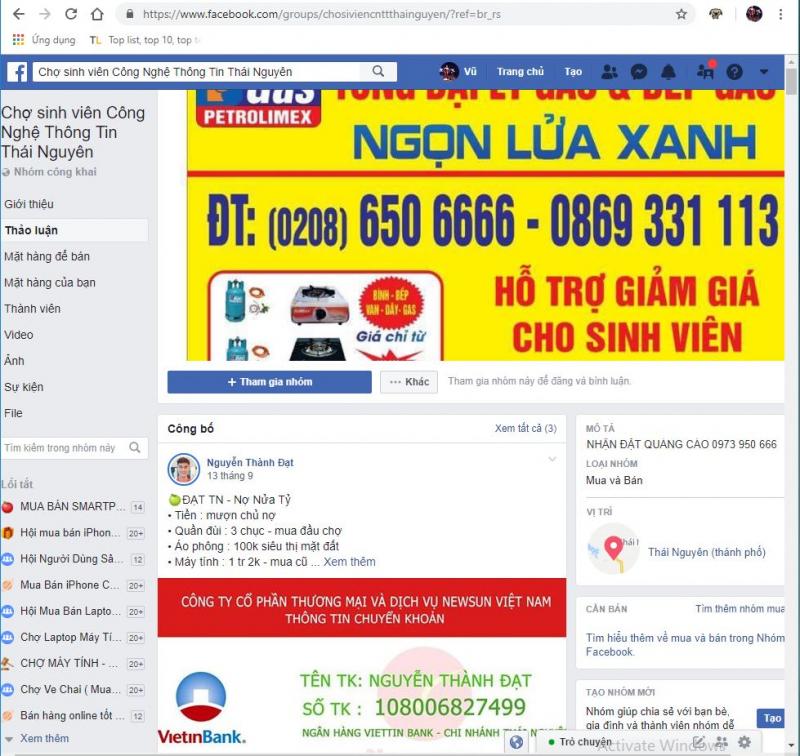 Group chợ sinh viên Công nghệ thông tin Thái Nguyên