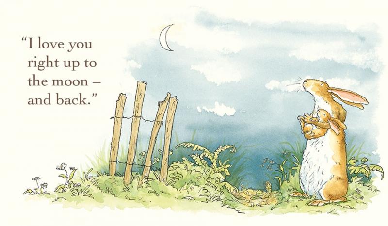 Những trang sách bằng mảng màu nước hồng phấn ấm áp đã thể hiện được tình cảm xúc động của Thỏ Nâu Lớn và con trai mình.
