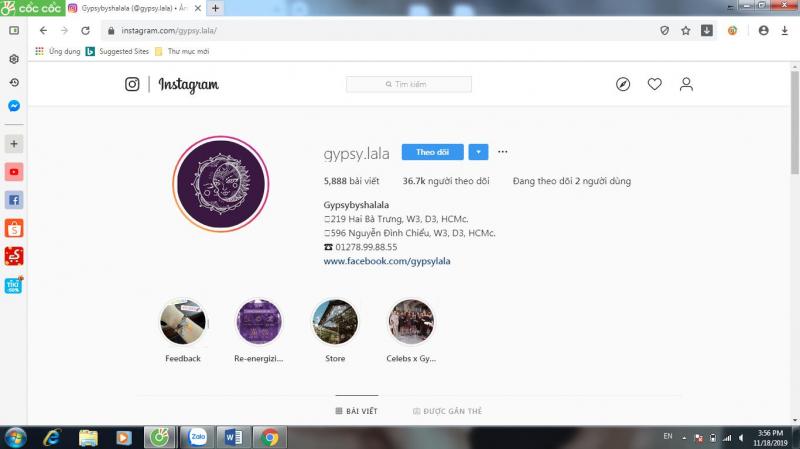 Kênh Instagram của Gypsy.lala