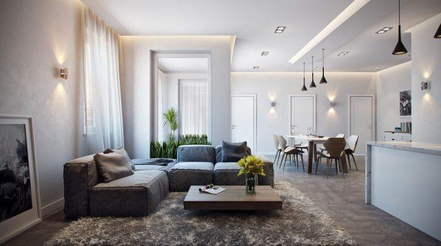 không gian nội thất phòng sinh hoạt chung với nguồn sáng được bày trí hợp lý, bắt mắt cùng cách sắp xếp tạo nên không gian vô cùng thoáng đãng.