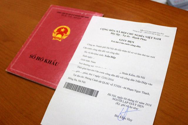 Hẹn trả thẻ căn cước công dân