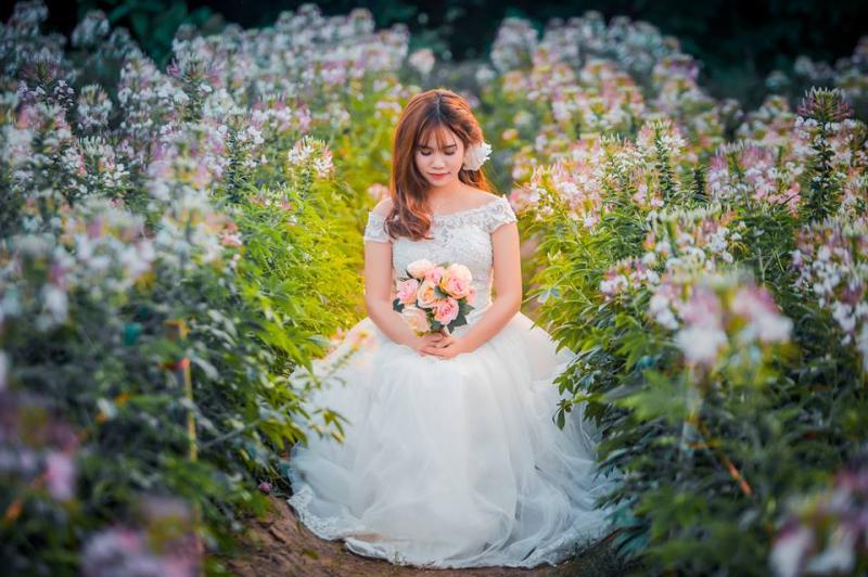 Chụp ảnh cưới ở bãi đá sông Hồng