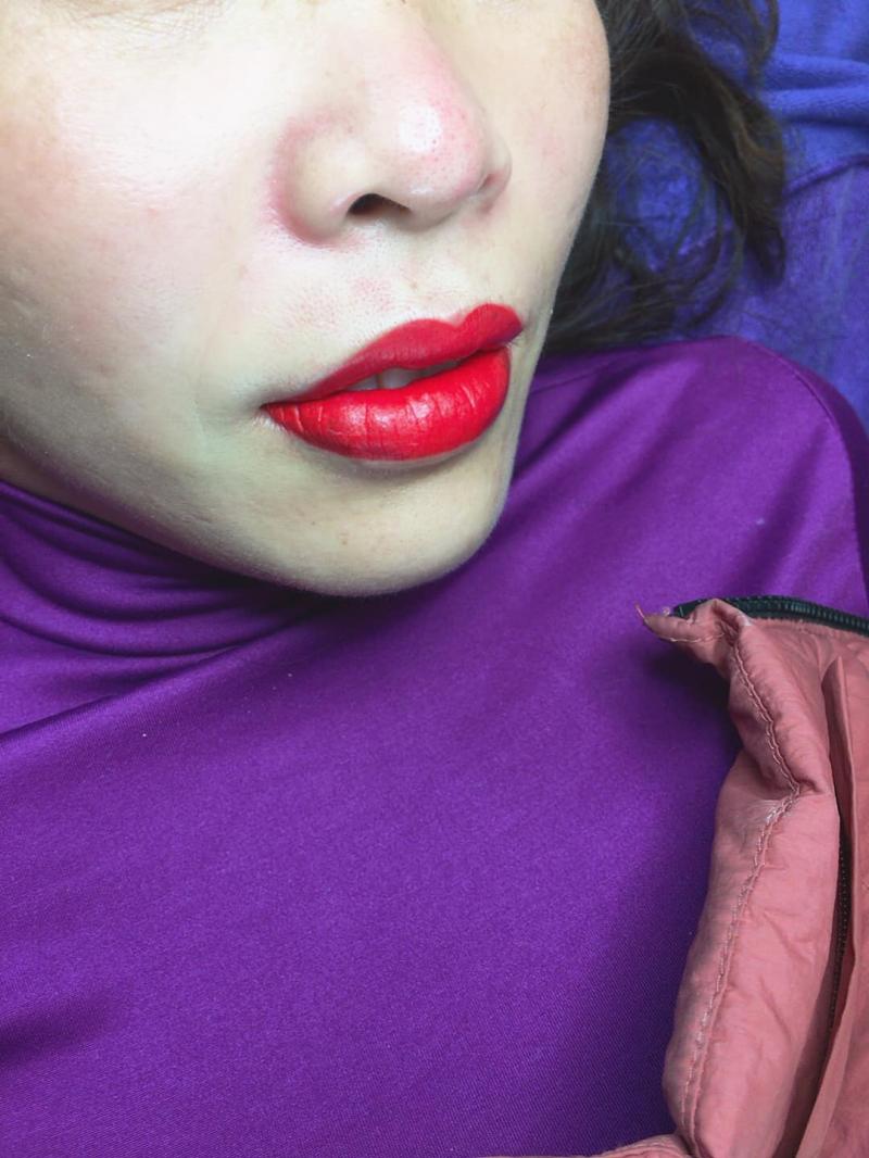 Màu môi vừa phun xong tại Hà Xăm trông rất đều màu