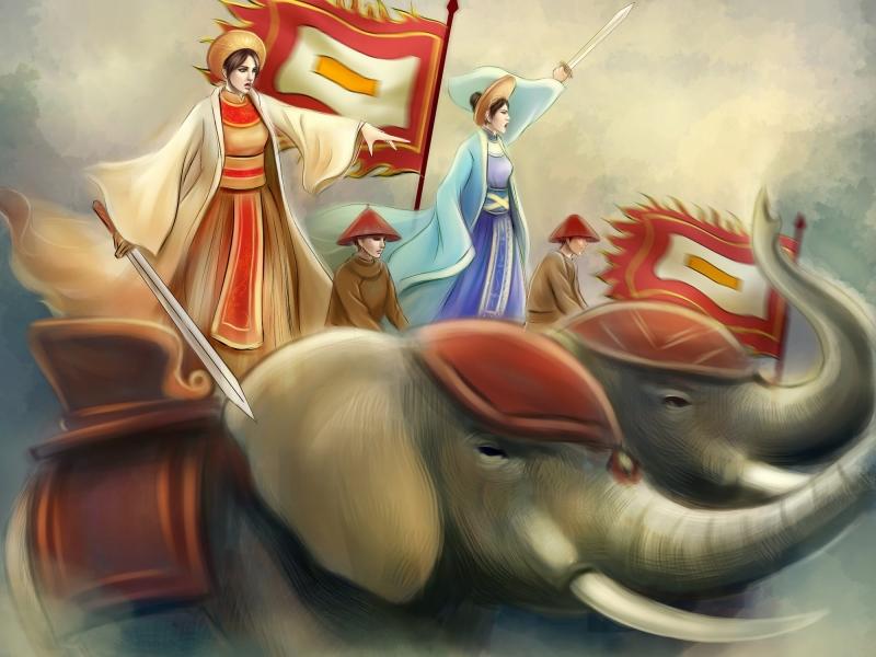 Hai Bà Trưng cưỡi voi ra trận