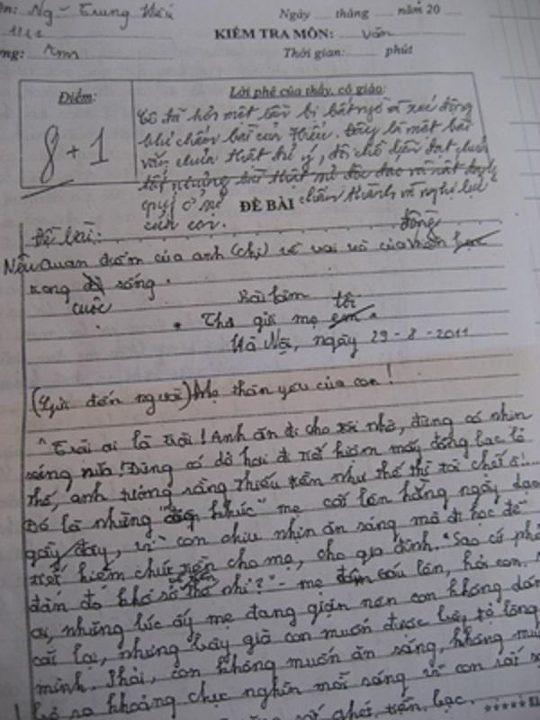 Bài văn của Nguyễn Trung Hiếu viết về mẹ của mình, chia sẻ với mẹ nỗi lo về tiền bạc