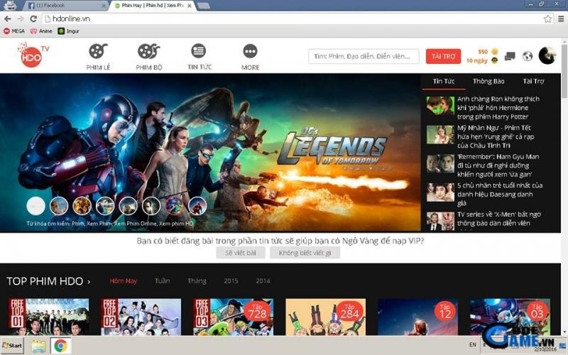 HD Online có giao diện sáng sủa và dễ tìm kiếm
