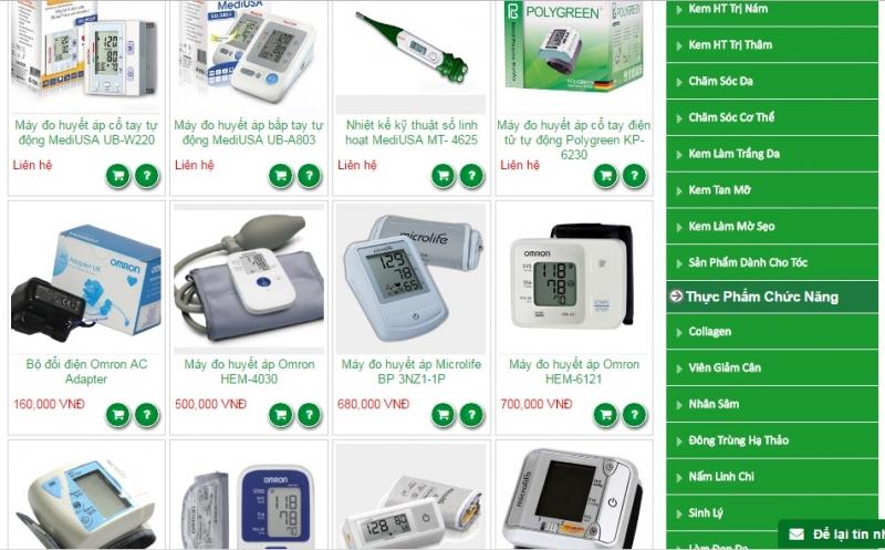 Các sản phẩm máy đo huyết áp của Hệ thống Nhà thuốc Việt