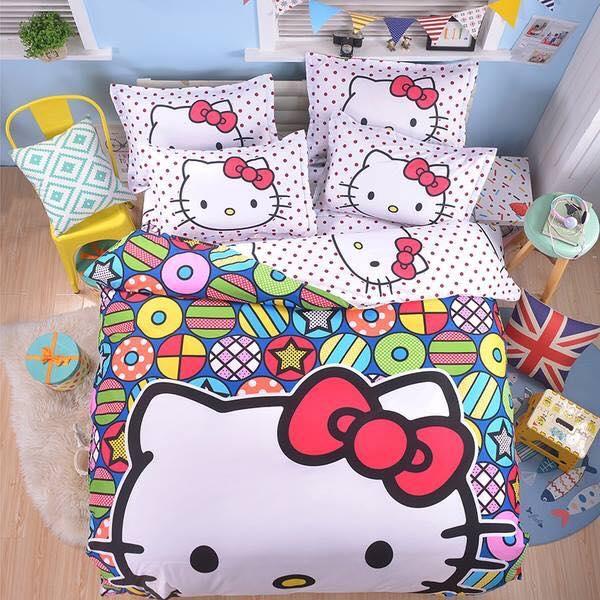 Bộ chăn ga gối Hello Kitty chất liệu lụa cao cấp
