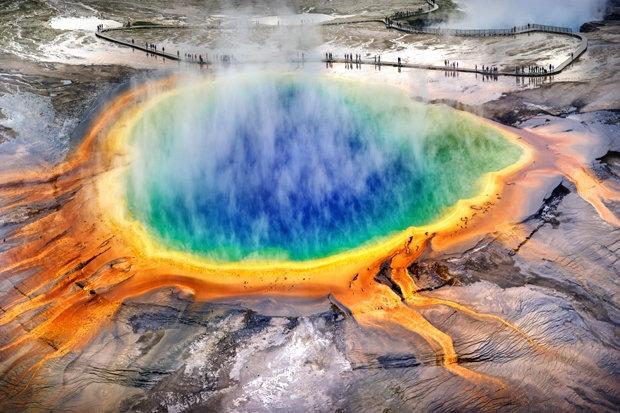 Hồ nước nóng Great Prismatic Spring, Wyoming, Mỹ