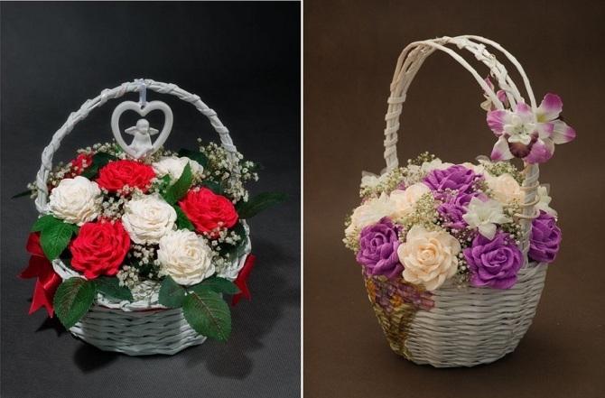 Giỏ hoa làm từ giấy nhún