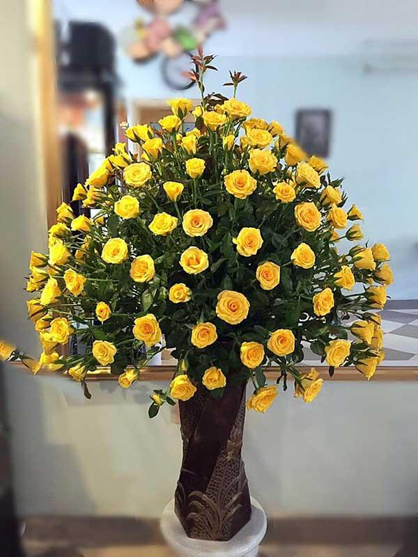 Hoa hồng vàng để biểu trưng cho sự thịnh vượng, tiền tài ngày Tết.