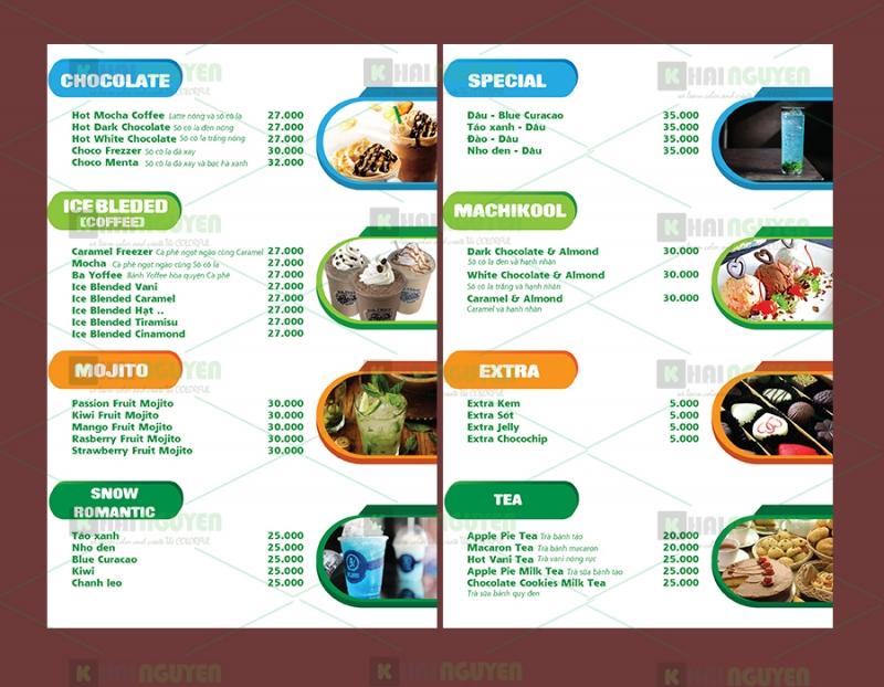 Hoàn thiện menu của quán