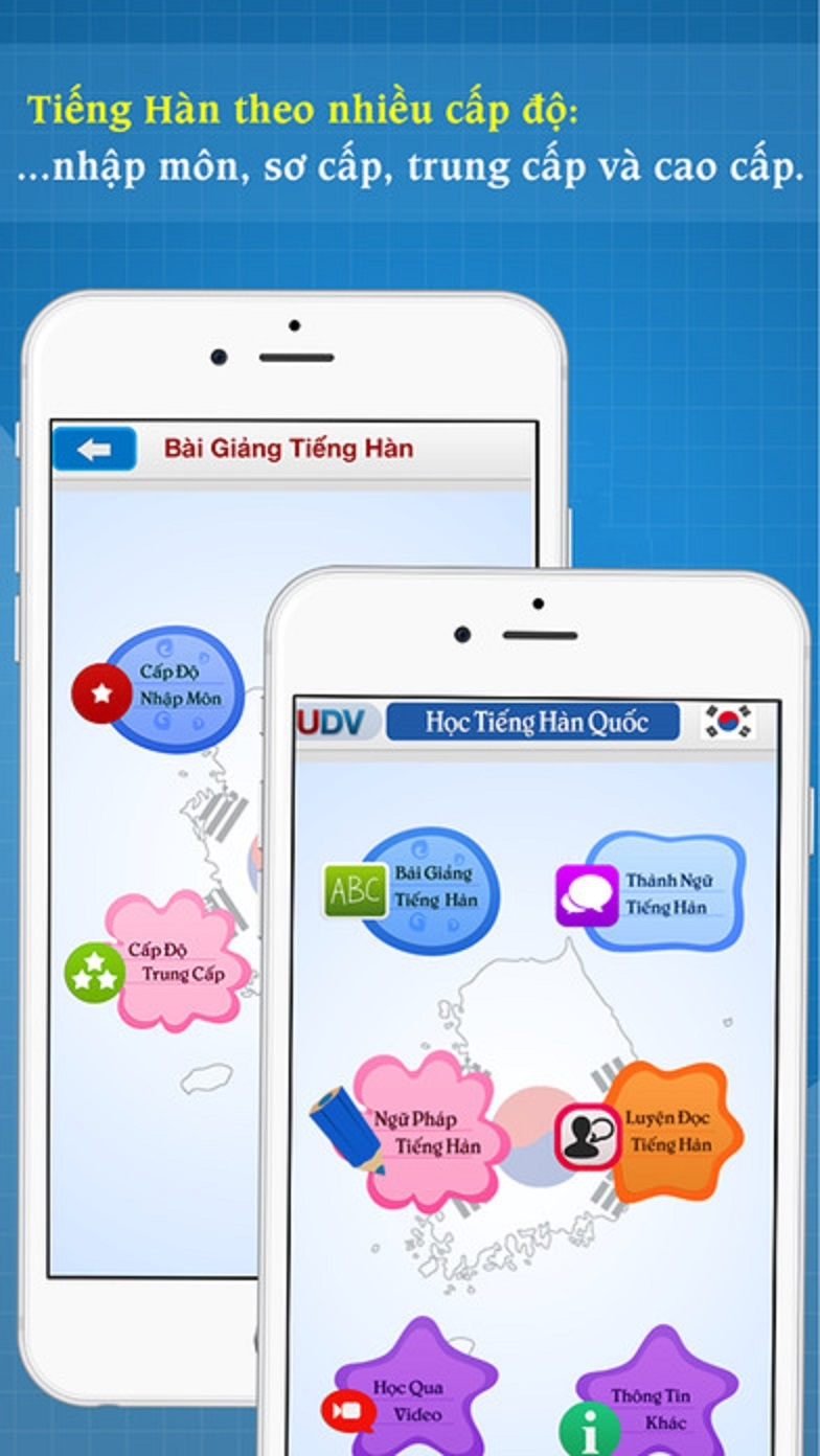 Giao diện chính của ứng dụng Học tiếng Hàn