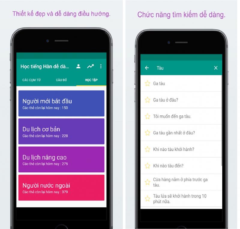 Thiết kế đẹp và dễ dàng tìm kiếm cùng Ứng dụng Học tiếng hàn dễ dàng