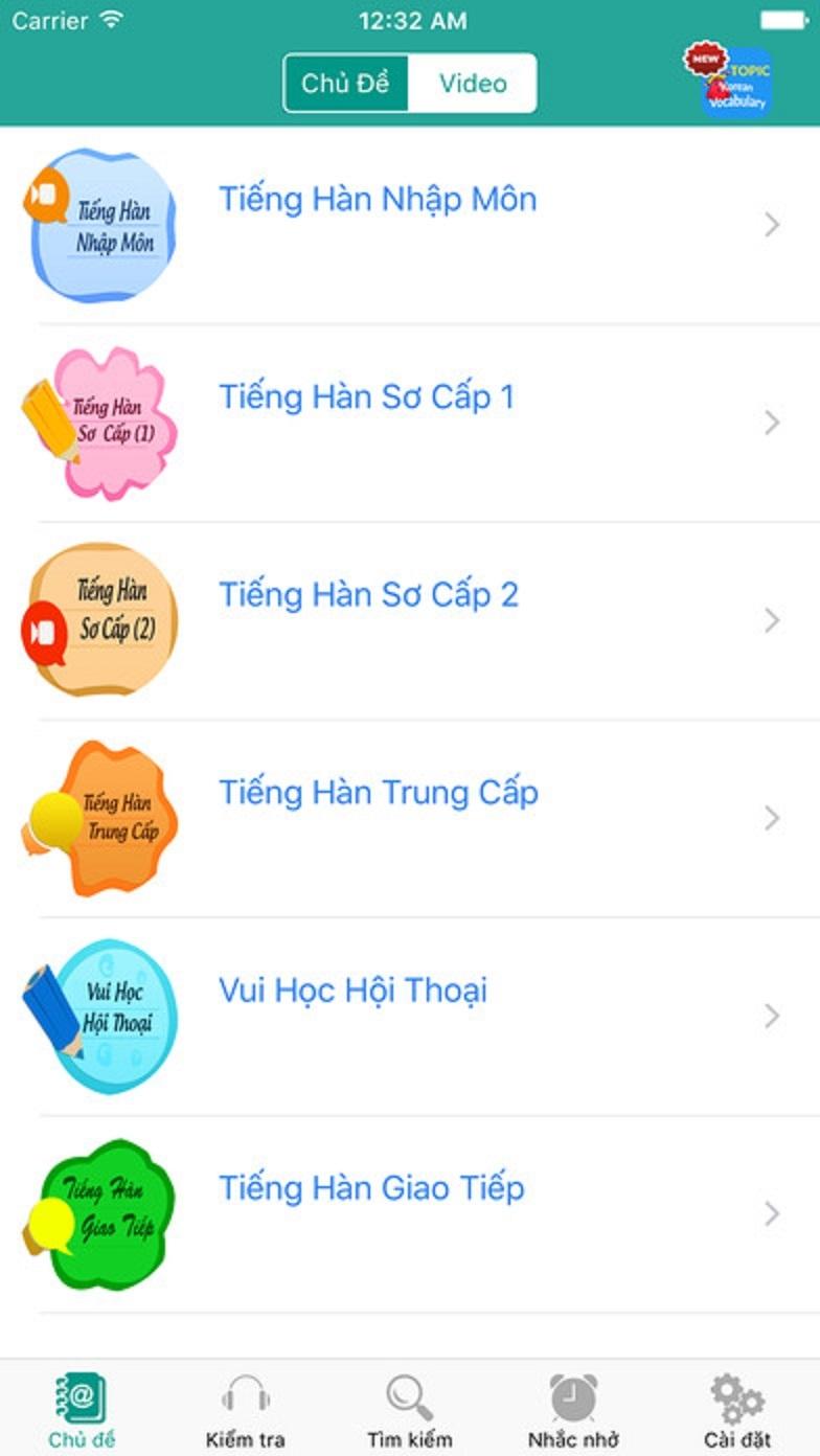 Giao diện của ứng dụng Học tiếng Hàn hàng ngày - Giao tiếp hội thoại - Awabe