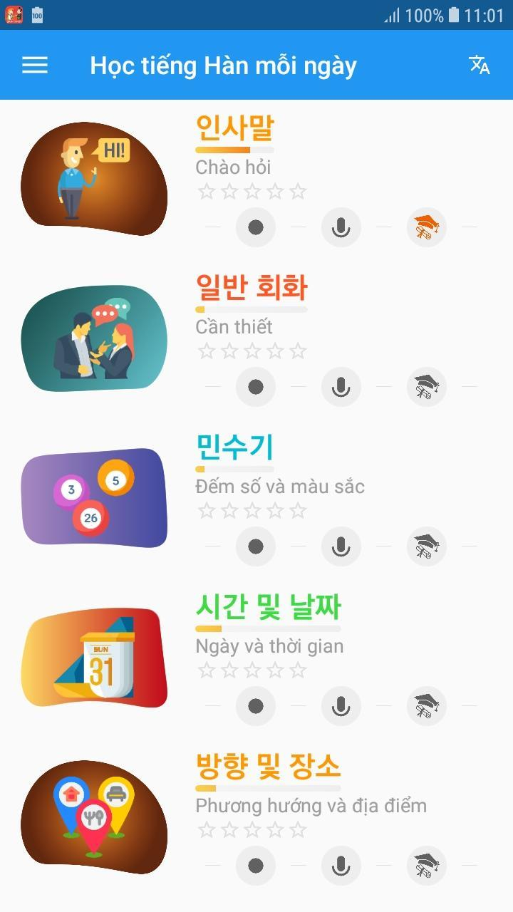 Giao diện bắt mắt cùng Ứng dụng Học tiếng Hàn mỗi ngày - Awabe