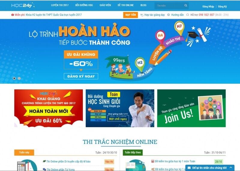 Website luyện thi đại học Hoc247.vn
