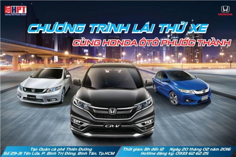 Chương trình lái thử xe cùng Honda Ôtô Phước Thành.