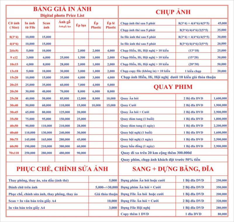 Bảng giá dịch vụ chụp ảnh tại Hồng Vân Digital