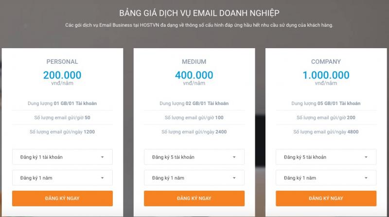 Bảng giá dịch vụ email doanh nghiệp HOSTVN.NET