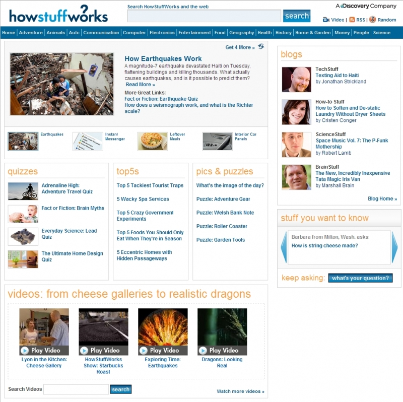 Giao diện của HowStuffWorks