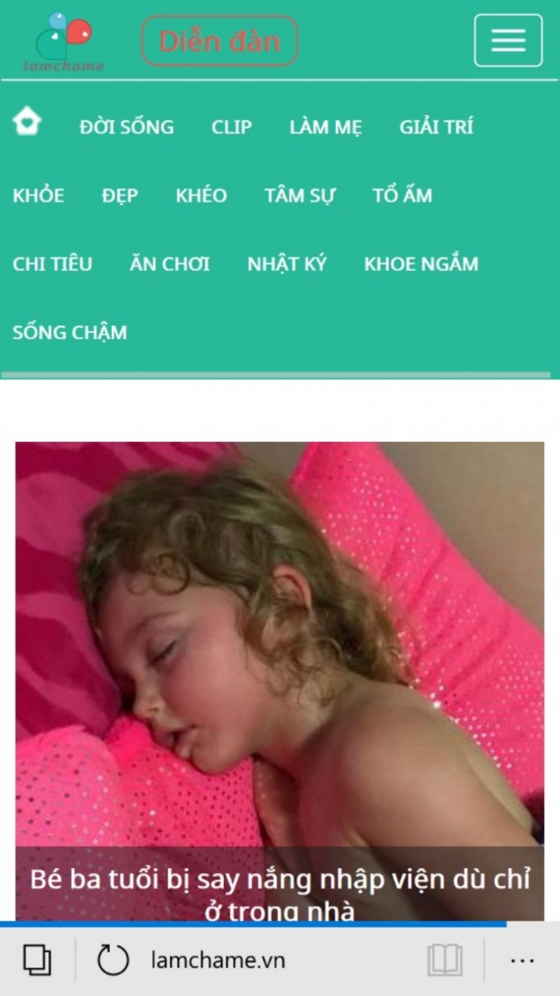 Trang chủ website lamchame.vn