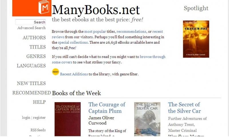 ManyBooks sở hữu nhiều thể loại tiểu thuyết văn học lớn trên thế giới.