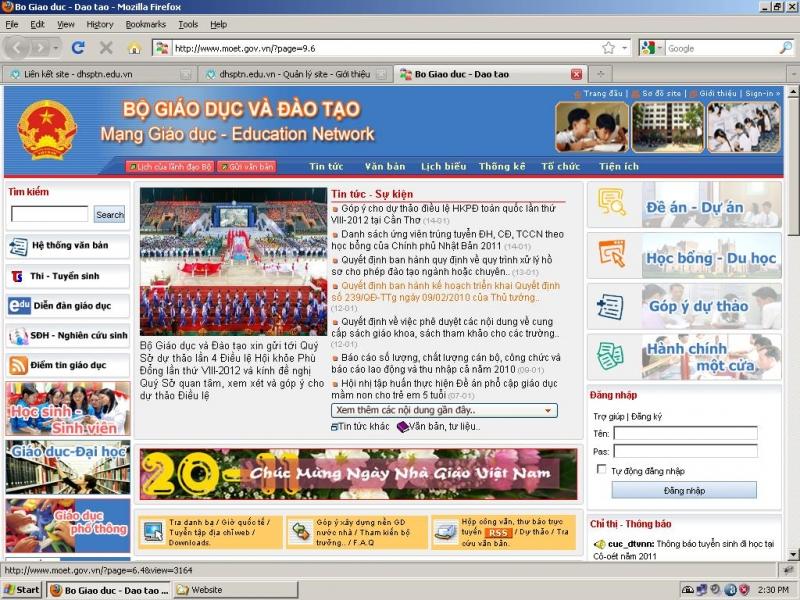 Trang web của Bộ Giáo dục và Đào tạo