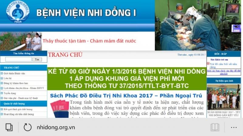 Trang chủ của bệnh viện Nhi Đồng 1