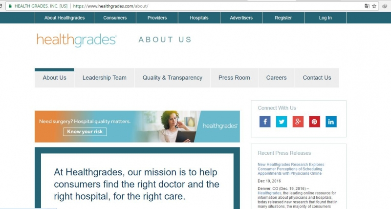Giao diện trang chủ của web https://www.healthgrades.com.