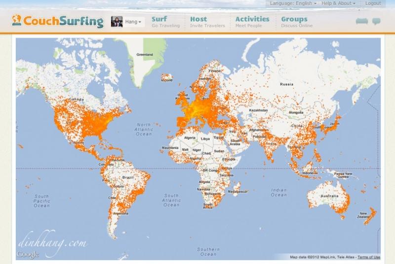 Couchsurfing là một mạng lưới các tình nguyện viên trên toàn thế giới cung cấp chỗ ngũ miễn phí cho khách du lịch