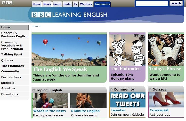 Giao diện học tiếng anh của BBC