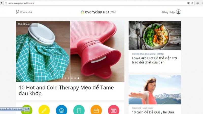 Giao diện của trang http://www.everydayhealth.com