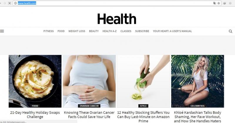 Giao diện trang chủ của health.com